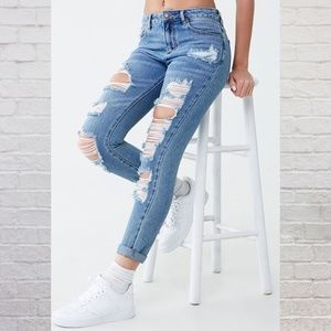 Forever 21 Boyfriend Fit Distressed Jeans